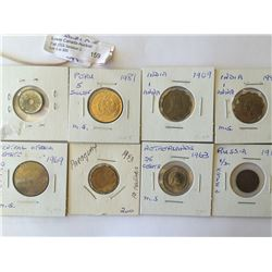 World coins: Mix coins of different country from 1909 to 1981, containing 8 coins total.