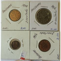 World coins: Honduras from 1935 to 1956, containing 4 coins total.