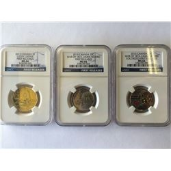Canada lot; 2 x 25 cents Laura Secord 2013 NGC MS-66, Dollar 2012NGC  Lucky Loonie MS-66. Lot of 3 c
