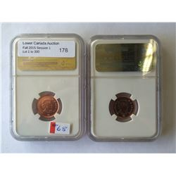 canada lot of two coins 2012 one cent steel MS-66 RD NGC and 2012 one cent NGC MS-66 RD plated zinc