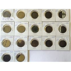 One cent lot; 17 coins from VG to VF, 1959 x 3, 1877 x 2, 1881, 1882, 1884 x 2, 1886 x 3, 1888, 1898