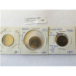world lot of 3 coins; Brazil 50 Reis 1887, Honduras  2 centavos 1920, double two in denomination of