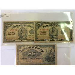 Dominion of Canada lot; 2 x 25 cents 1923 VG  & 1 x 25 cents 1900 VG