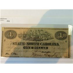 USA One dollar note ; State of Carolina, 1863, with light repair on uper left, # S2365
