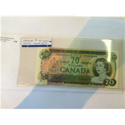 Bank of Canada 20 $ 1969 UNC , not graded banknote, with Pink color on Reverse, to be viewed.