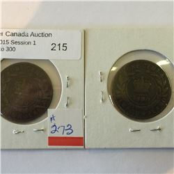 Duo of one Cents 1880 Newfoundland WO and LWO