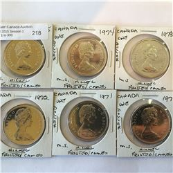 Nickel dollar lot of 6 pieces; 1970 -1971-1972-1973-1974-1975 from mint set