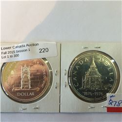 silver proof commemorative dollar 1976 and 1977