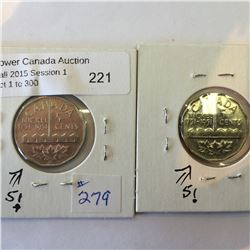 5 Cents canada 1951 x 2 commemoratives with variety of half moon