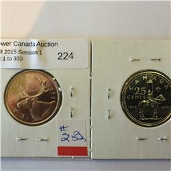 25 cents Canada 1973 and 1975 cameo