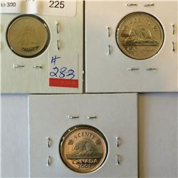 3 coins lot; 2 x 5 cents 174 pl, 2001 proof, and 10 cents 2002p