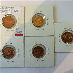 one cent lot; 1955 SF MS, 1956 MS, 1957 MS, 1958 MS, 1959 MS.