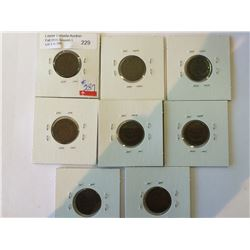 One cent USA lot; 8 x indian Head cent, 1887, 1891, 1897, 1902, 1903, 1904, 1906, 1908.