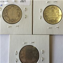 25 cents Silver Canada coins lot; contain 3 pieces 1904-1907-1909