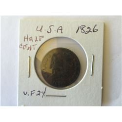 USA; Half cent 1826 F-12 to F+ with some Die Rotation and 2 Rim Bump.