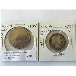 USA; 1 cent 1834 and 25 cents 1898O, view pictures for condition. Lot of 2 coins.