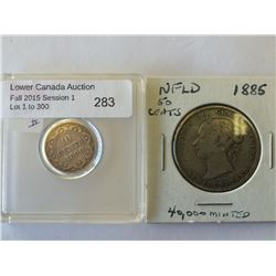 NFLD 10 cents 1890 VG-10 and 50 cents 1885 G-6. Lot of 2 coins.