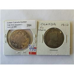 50 cents 1910 ED Leaves VG-8 and 1914 VG-8. Lot of 2 coins.
