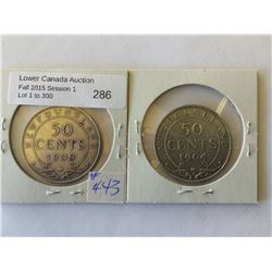 NFLD 50 cents 1904H and 1908 both coins VF-20. Lot of 2 coins.