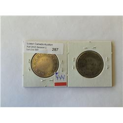 NFLD 50 cents 1872H and 1874 both About Good to Good. Lot of 2 coins.
