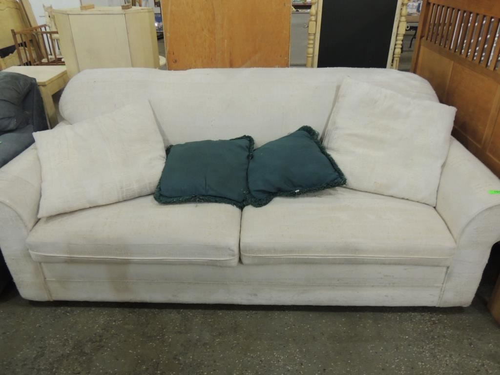 Contemporary cream fabric sofa Cream fabric sofa