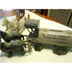 "TOY CAST IRON WAGON AND HORSES ""THE TEXAS COMPANY"""