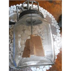 ANTIQUE HAND CRANK GLASS JAR BUTTER CHURN