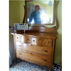 OAK 4 DRAWER CHEST W/ MIRROR