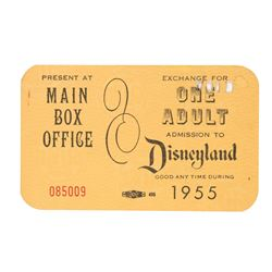 Extremely Rare 1955 Disneyland Main Gate Complimentary Admission Ticket