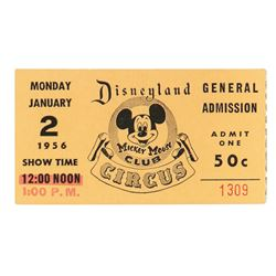 Mickey Mouse Club Circus gate flyer, admission ticket , program, and employee letter.