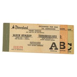 Rare First Disneyland Ticket Book