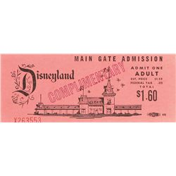 Rare 1960s Disneyland Complimentary Main Gate Admission Ticket