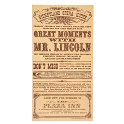 """Great Moments with Mr. Lincoln"" Grand Opening Gate Flyer"