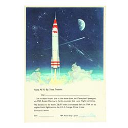 TWA Rocket to the Moon Lunar Flight Certificate