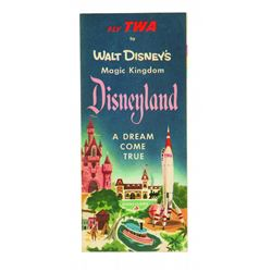 "Disneyland  ""A Dream Come True""  TWA Complimentary fold-out brochure with map"