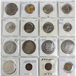 Collection of 16 coins includes 1901, 1900