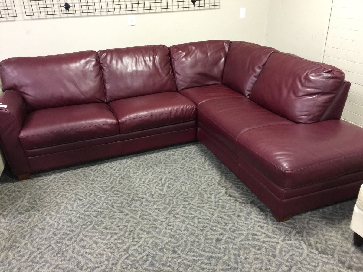 Burgundy leather sectional with chaise for Burgundy chaise