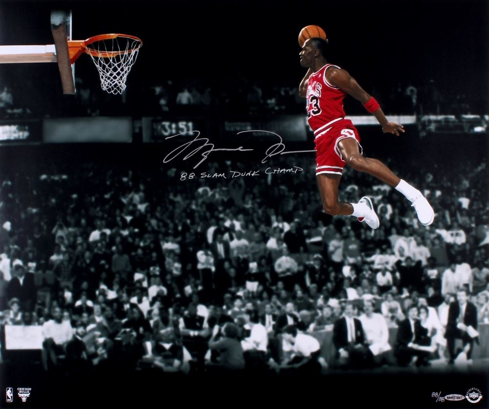 Image 1 Michael Jordan Signed Bulls 20x24 Photo From 1988 Slam Dunk Contest UDA