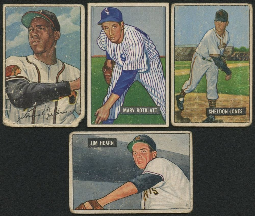 Image 1 Lot Of 4 1951 52 Bowman Baseball Cards With