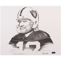 "Ken Stabler Signed Raiders Limited Edition 17"" x 14"" Lithograph by Daniel E. Wooten #887/1150 (Stabl"