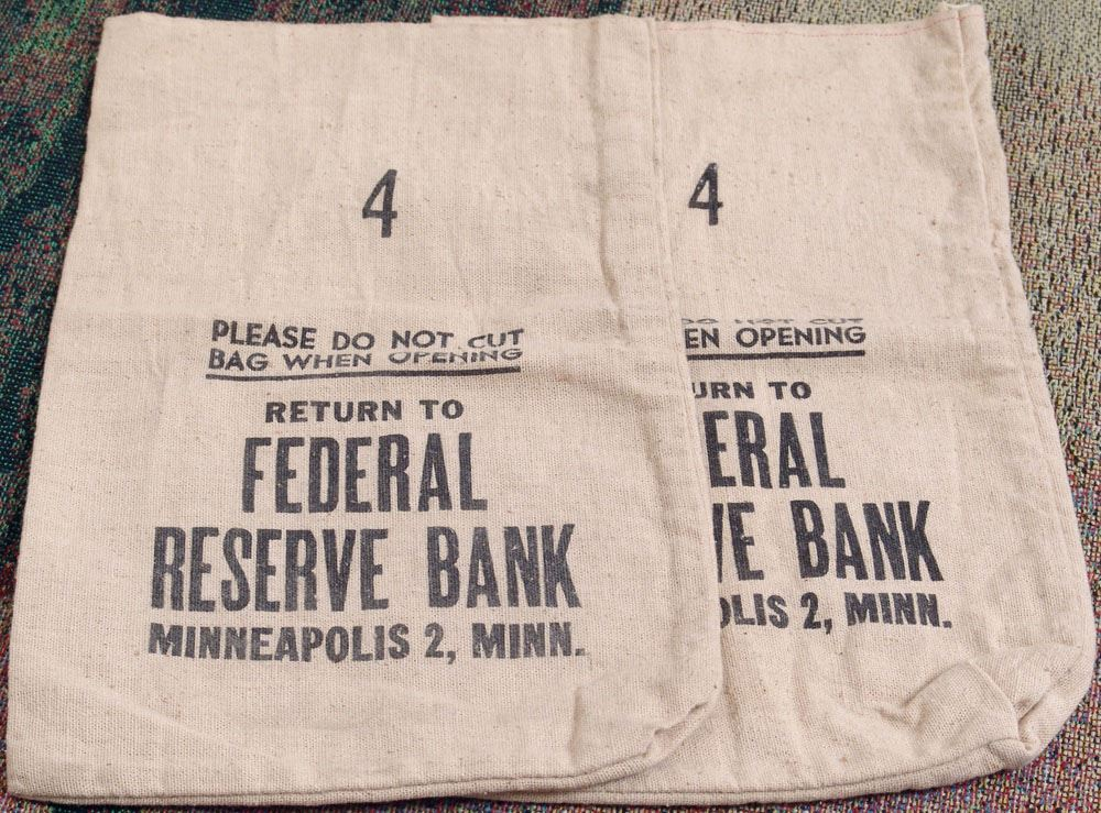 pair of vintage federal reserve bank money bags. Black Bedroom Furniture Sets. Home Design Ideas