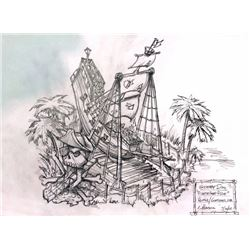 Scooby Doo Original Concept Drawing of the Pirate-ship ride for Spooky Island