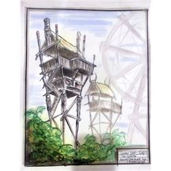 Scooby Doo Original Concept Painting of Tiki Shacks for Spooky Island