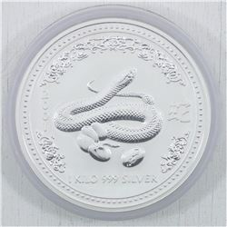 2001 Kilo (32.15oz.) .999 Fine Silver Australia Year of the Snake Silver Coin (TAX Exempt)