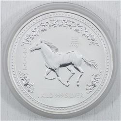 2002 Kilo (32.15oz.) .999 Fine Silver Australia Year of the Horse Silver Coin (TAX Exempt) - coin is