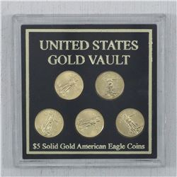 2008 United States Gold Vault $5 1/10oz Solid Gold American Eagle 5-Coin Set in hard plastic Display