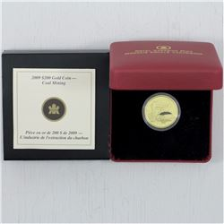 2009 Canada $200 Coal Mining Trade 22-Karat Gold Coin. The coin weighs  16 grams and contains 91.67