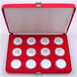 2004 Complete Zodiac 1oz. Privy Mark $5 Silver Maple Leaf 12-Coin Set with Red Velvet Dsplay Box. Yo