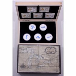 2014-2015 Great Lakes Complete $20 Fine Silver 5-Coin Set with Deluxe Wooden Display Case issued by