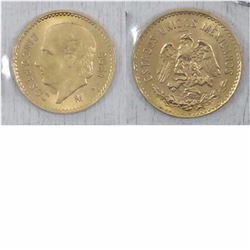 1955 Mexico 5 Pesos Gold coin. This coin weighs 4.1666 grams and contains .1205 oz of pure Gold.